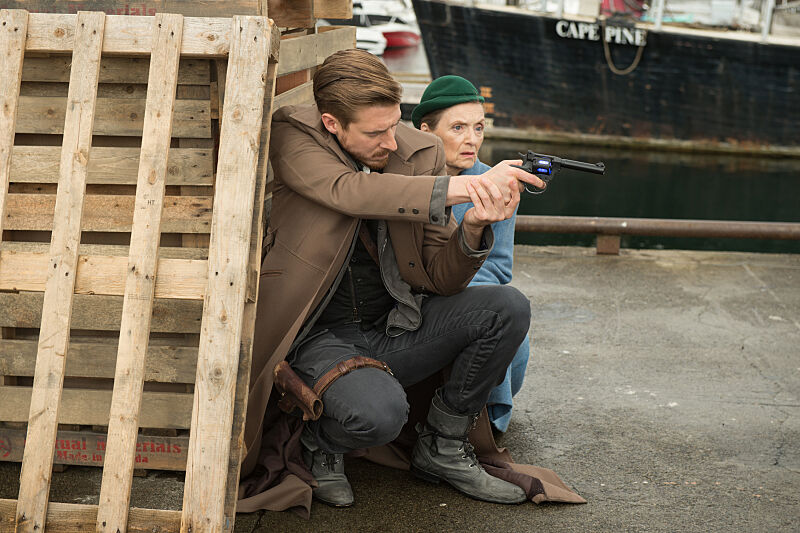 """DC's Legends of Tomorrow --""""Out Of Time""""-- Image LGN201A_0313.jpg Pictured (L-R): Arthur Darvill as Rip Hunter and Christina Jastrzembska as Mileva Maric -- Photo: Diyah Pera/The CW -- © 2016 The CW Network, LLC. All Rights Reserved."""