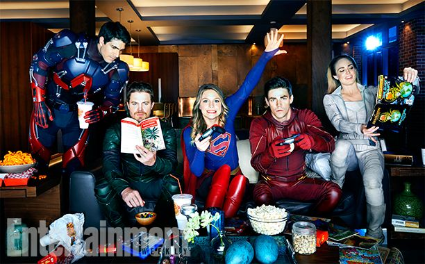 DC Superheroes L to R: Melissa Benoist (Supergirl), Stephen Amell (Green Arrow) and Grant Gustin (The Flash)  Vancouver, British Columbia, Canada - October, 27, 2016 Photograph by Art Streiber