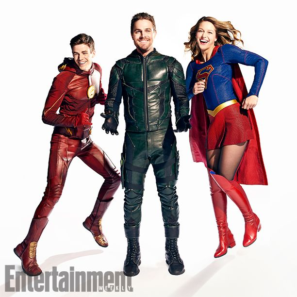 DC Superheroes L to R: Melissa Benoist (Supergirl), Stephen Amell (Green Arrow) and Grant Gustin (The Flash)  Vancouver, British Columbia, Canada - October, 27, 2016 Photograph by Art Streiber Gustinês Costumer: Elizabeth ¥Bettyê Dubney; Hair: Sarah Koppes; Makeup: Tina Teoli; Amellês Costumer: Mary Hyde Kerr; Hair: Paul J. Edwards; Makeup: Tanya Howard; Benoistês Costumer: Nicole Bobick; Hair: Lisa Leonard; Makeup: Danielle Fowler; Producer: Adele Thomas Productions
