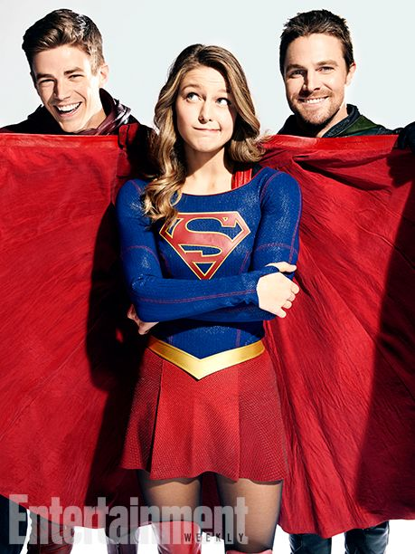 DC Superheroes L to R: Melissa Benoist (Supergirl), Stephen Amell (Green Arrow) and Grant Gustin (The Flash)  Vancouver, British Columbia, Canada - October, 27, 2016 Photograph by Art Streiber Gustinês Costumer: Elizabeth ´Bettyê Dubney; Hair: Sarah Koppes; Makeup: Tina Teoli; Benoistês Costumer: Nicole Bobick; Hair: Lisa Leonard; Makeup: Danielle Fowler; Amellês Costumer: Mary Hyde Kerr; Hair: Paul J. Edwards; Makeup: Tanya Howard; Producer: Adele Thomas Productions