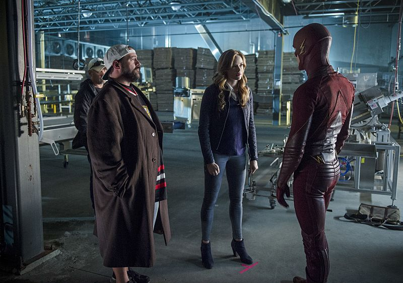 "The Flash -- ""Killer Frost"" -- Image FLA307b_BTS_0335b.jpg -- Pictured (L-R): Kevin Smith, Danielle Panabaker as Caitlin Snow/Killer Frost and Grant Gustin as The Flash -- Photo: Diyah Pera/The CW -- © 2016 The CW."