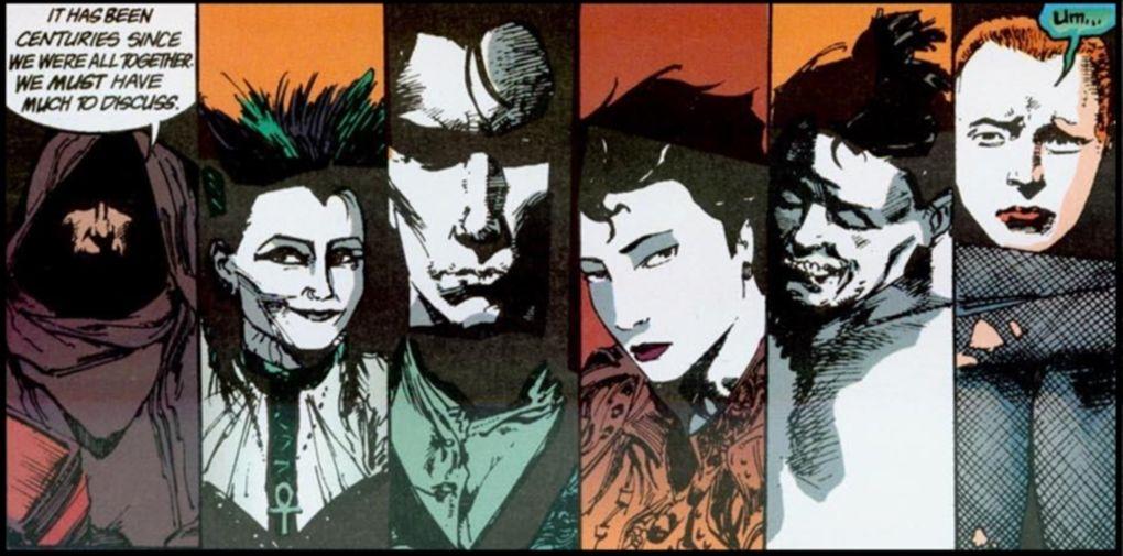 Prawie kompletne rodzeństwo Nieskończonych. Fragment komiksu Sandman: Pora mgieł