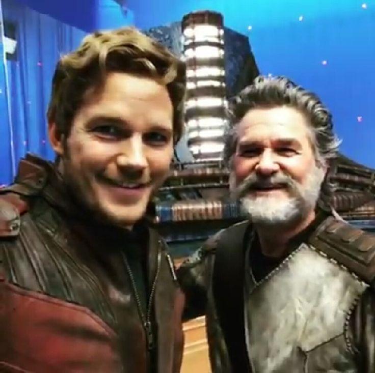 "Chris Pratt (Star-Lord) i Kurt Russell (Ego) na planie ""Strażników Galaktyki Vol. 2"""
