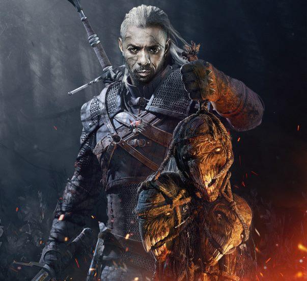 Fanowski fotomontaż - Idris Elba jako Geralt w charakteryzacji podkreślającej mutację i inność