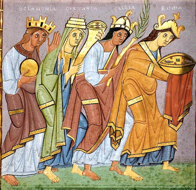 """Prowincje składające hołd cesarzowi - fragment ilustracji z """"Ewangeliarza"""" Ottona III"""