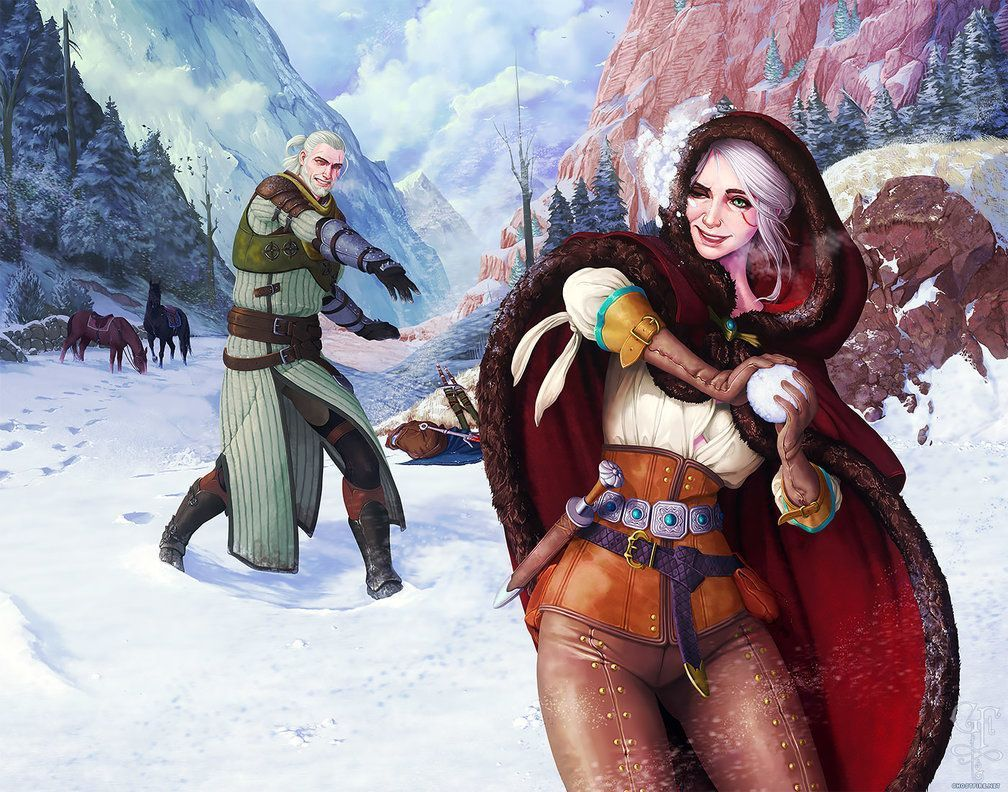 Witcher – Geralt and Ciri – Midwinter Celebration by ghostfire