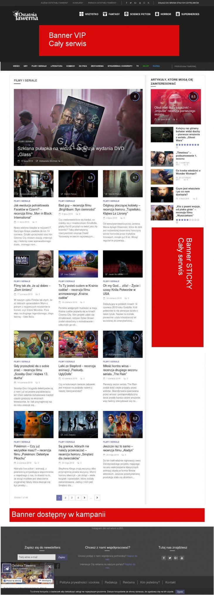 Bloki bannerów na stronie listy newsów/artykułów