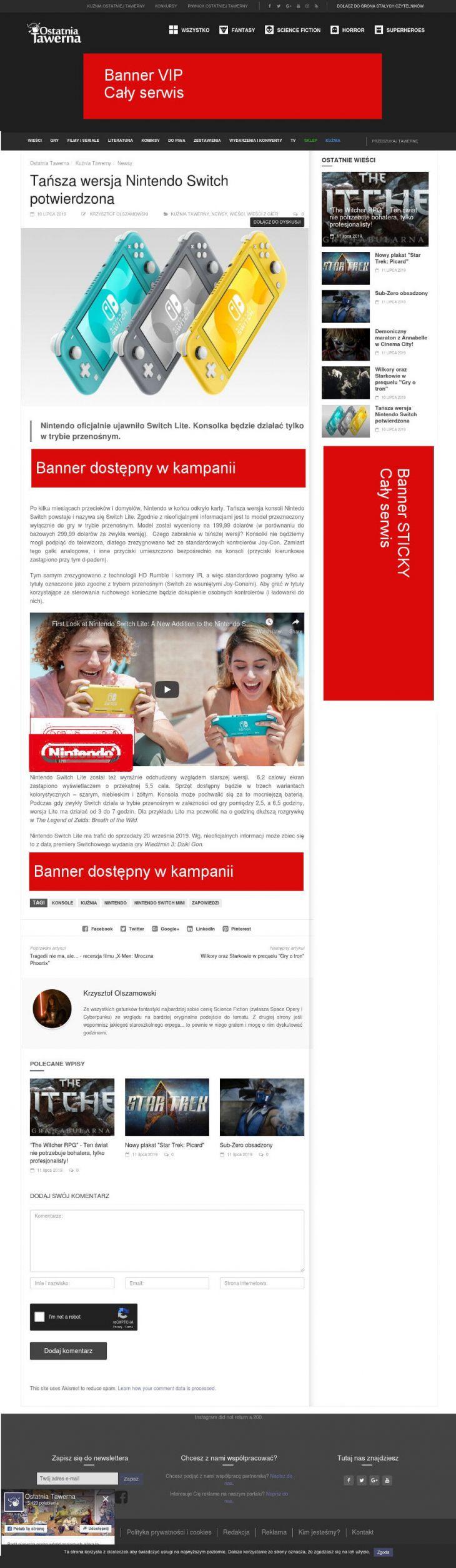 Bloki bannerów na stronie newsów/artykułów