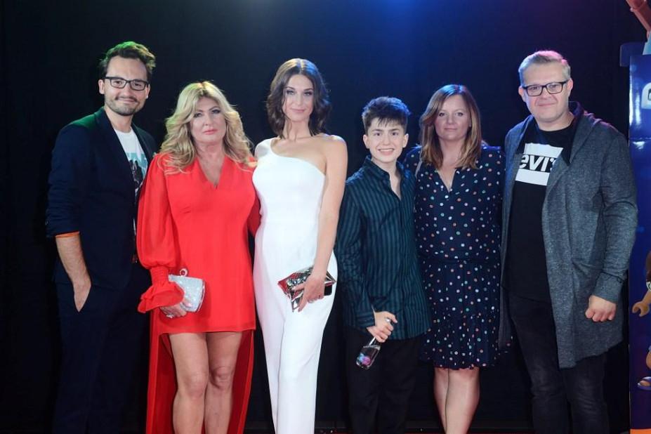 Beata Kozidrak, Antek Scardina i Julia Kamińska na premierze Playmobil Film