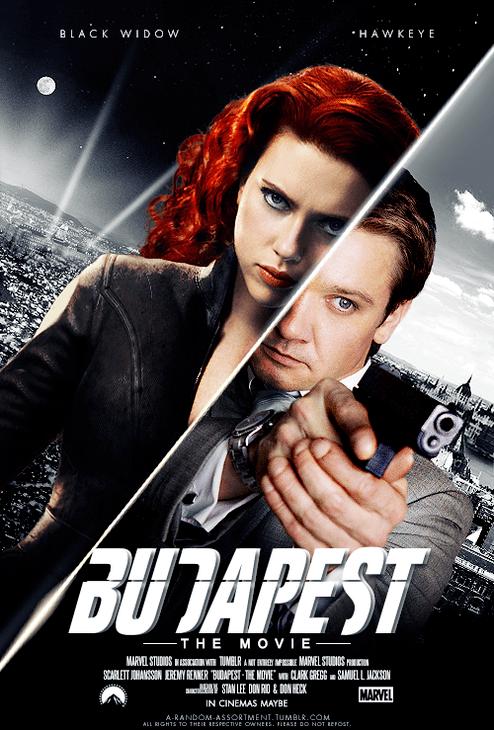 """""""Budapest"""" Black Widow i Hawkeye, plakat fanowski"""