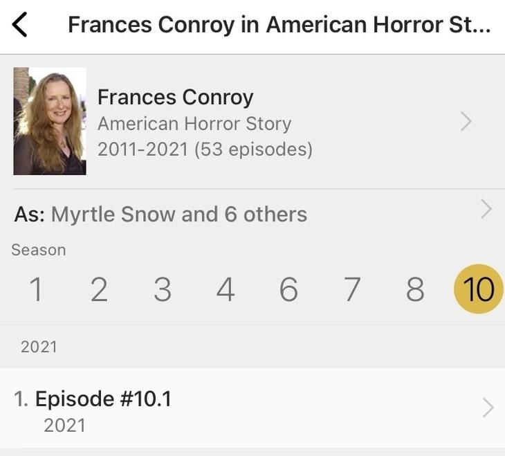 Frances Conroy na IMDb, American Horror Story 10